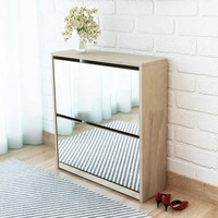 VidaXL 2 Layer Shoe Cabinet Mirror Oak Color Shoes Storage Cabinet Easy Assembly Shoe Rack Furniture Shoe Organizer