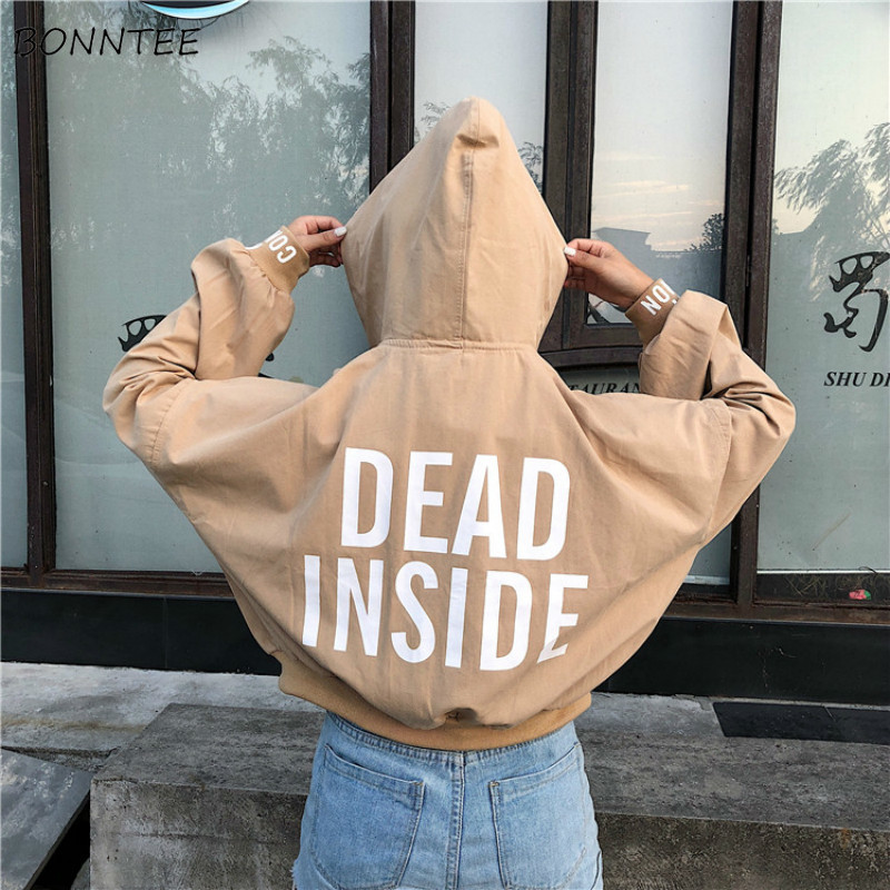 Womens Clothing Hooded Spring Harajuku Loose Korean-Style Trendy Simple Long-Sleeve Students title=