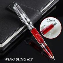 2020 Wing Sung 618 피스톤 투명한 만년필 잉크 펜 고급 0.5mm 펜촉 클립 사무용품 penna stilografica