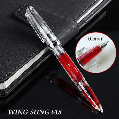2020 cánh Sung 618 Piston Trong Suốt Bút máy Viết Mực Mịn 0.5mm Ngòi Bạc Kẹp Văn Phòng học tập penna stilografica