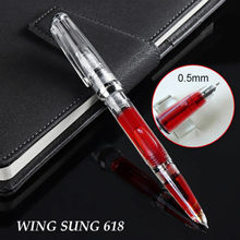 Прозрачная чернильная ручка Piston Wing Sung 618, тонкая серебристая ручка 0,5 мм с зажимом, офисные и школьные принадлежности, стилографика 2020
