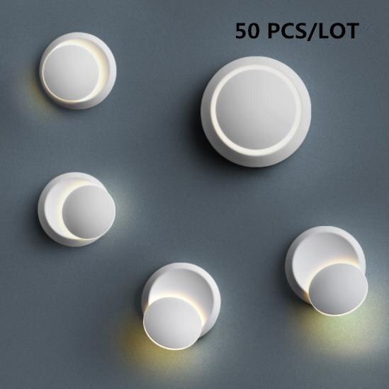 50 PCS 360 graus de rotação de Iluminação Interior luz de Parede Lâmpada de Parede de cabeceira Moderna Casa Decoração luz Arandela Lâmpada Acrílica 5 W