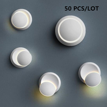 50PCS 360 degree rotation Wall light Indoor Lighting Lamp Modern Home bedside Decoration Sconce Acrylic 5W