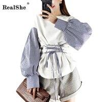 RealShe Fashion Hoodies Sweatshirts O neck Lantern Sleeve Bandage Patchwork Sweats Women Clothing Feminina Loose Sweats Fashion