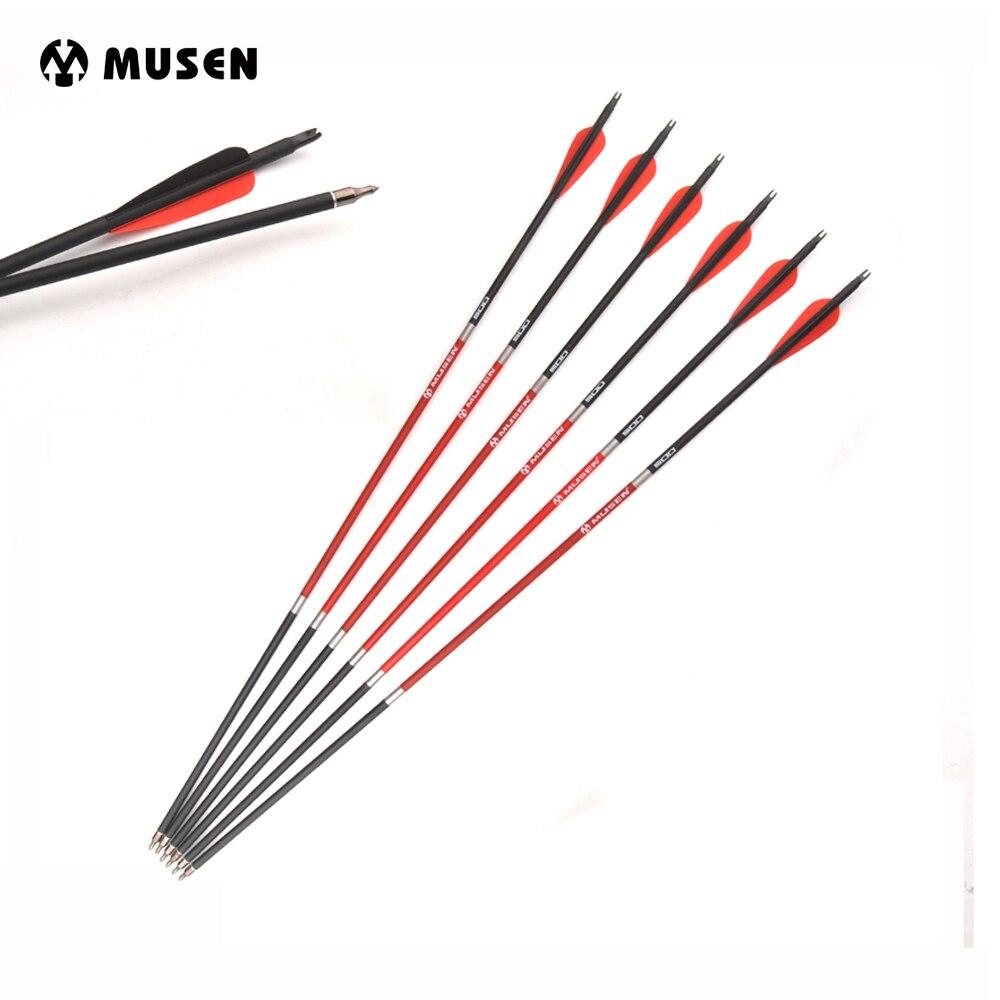12/24/36 pcs Wirbelsäule 500 Mixed Carbon Arrow 30 Zoll Durchmesser 7.8mm Auswechselbare Pfeilspitze Bogenschießen für Compound / Recurve Bow Hunting