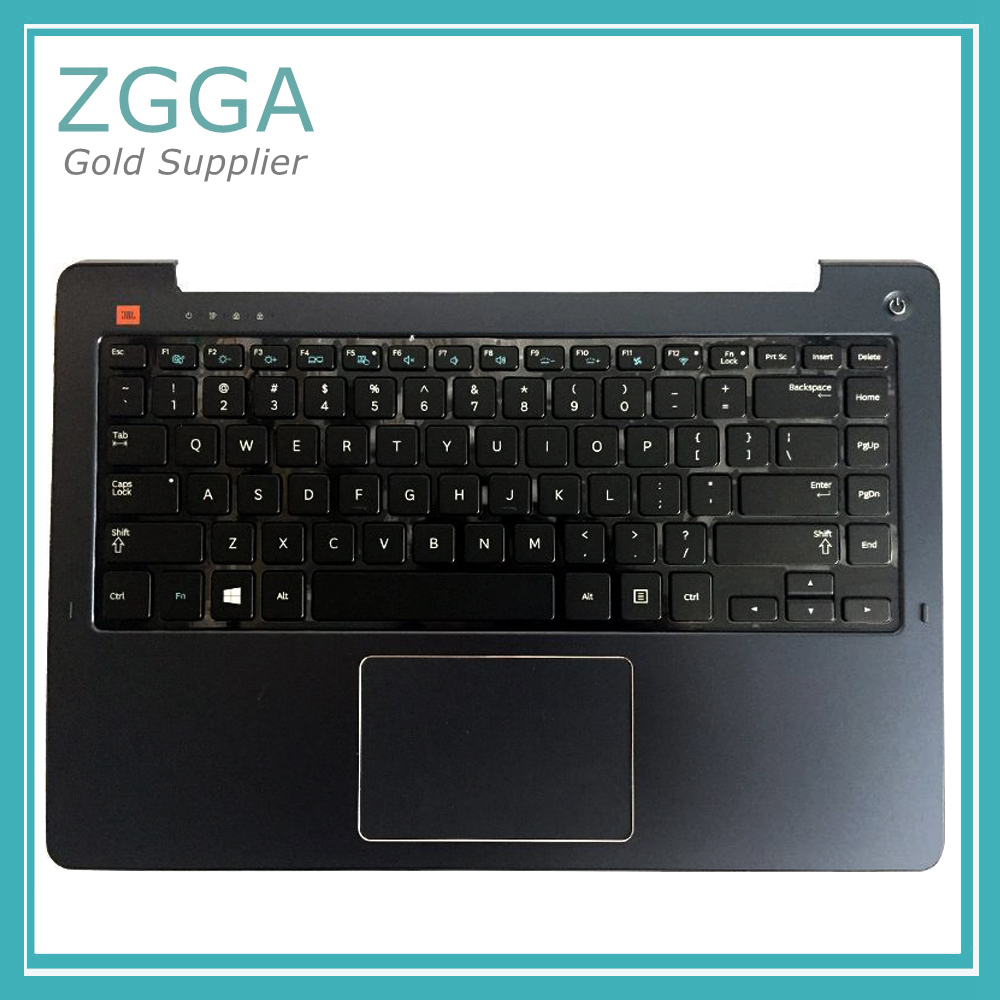 Laptop Upper Case For <font><b>Samsung</b></font> <font><b>NP530U4E</b></font> 530U4E Palmrest Cover US <font><b>Keyboard</b></font> Touchpad Blue BA75-04632A Silver BA75-04658L Wo backlit image