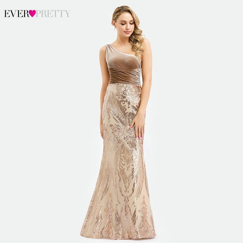 Sexy Rose Gold Evening Dresses Long Ever Pretty EP00970RG One Shoulder Sequined Elegant Mermaid Formal Dresses Vestido Comprido