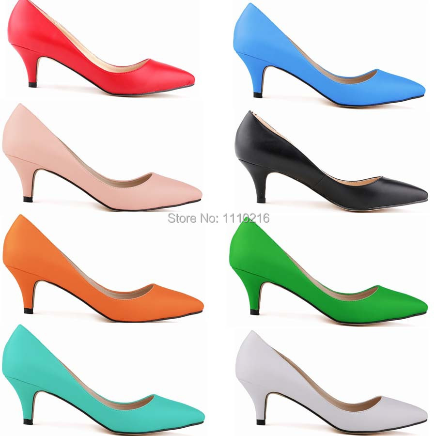 2015 hot sale PU leather thin low heels shoes pumps ladies fashion pointed toe star style