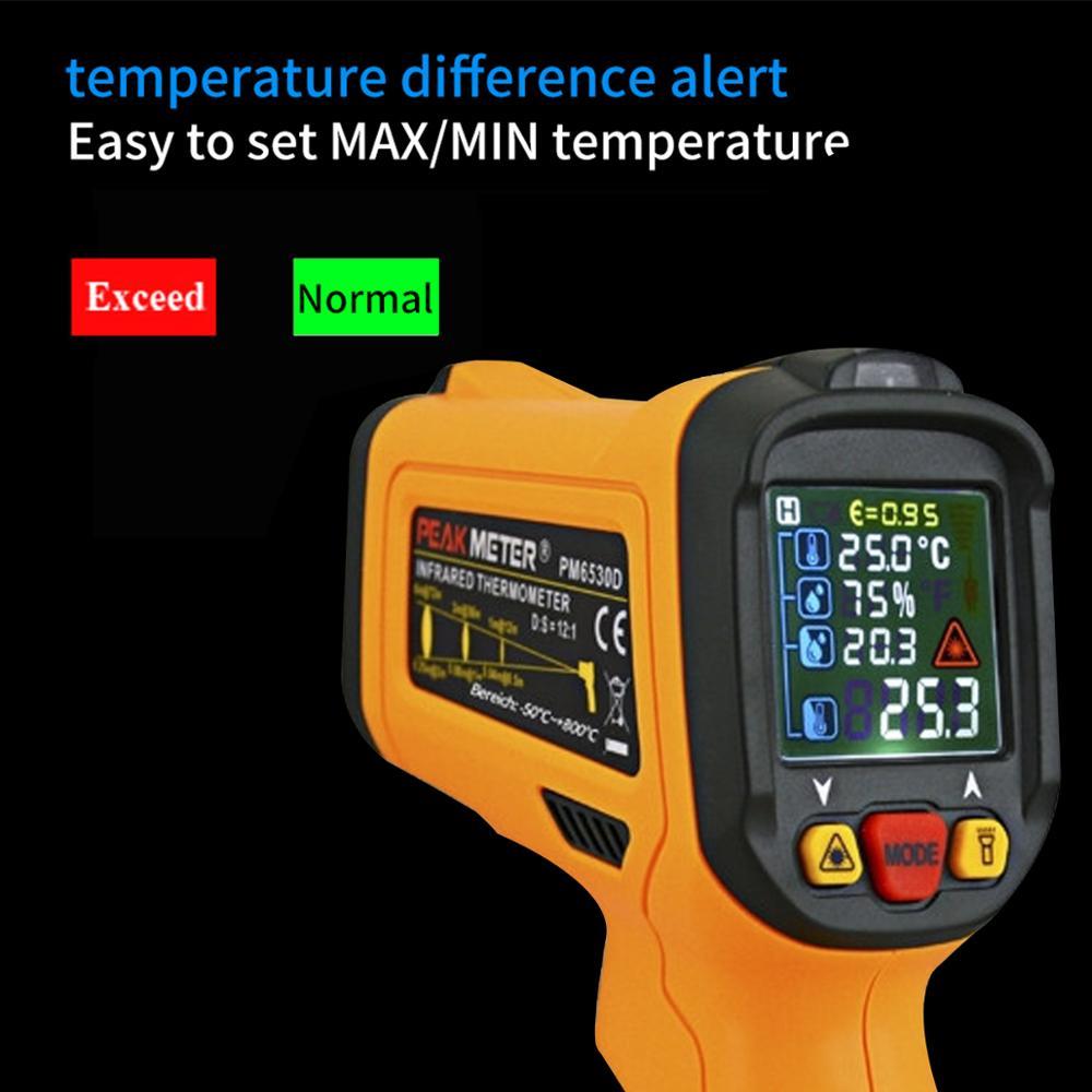 Image 4 - PM6530D digital laser infrared thermometer hygrometer K type UV  light electronic temperature sensor humidity meter pyrometerTemperature  Instruments   -