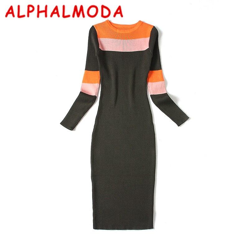 [Alphalmoda] Для женщин Цвет Блоки с длинными рукавами вязаное платье ПР Мода хит Цвет Bodycon Vesidos