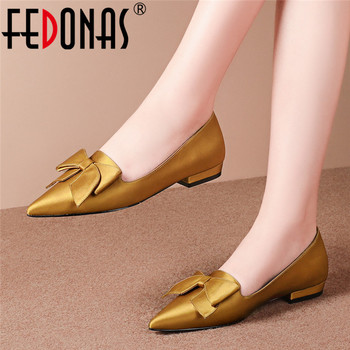 FEDONAS 2020 Spring Summer Solid Silk Prom Shoes Woman Brand Pointed Toe Butterfly-Knot Decoration Shoes Top Quality Women Pumps