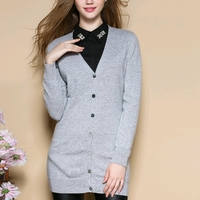 Top Quality 100% Pure Goat Cashmere Sweater Women Single Breasted Pocket Cashmere Cardigan Long Sleeve V Neck Long Cardigan
