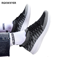 RGKWXYER Men Casual Shoes Brand Men Shoes Men Sneakers Breathable Flats Shoes Mesh Slip On Loafers Fly Knit Plus Big Size 39-48 knit design slip on sneakers