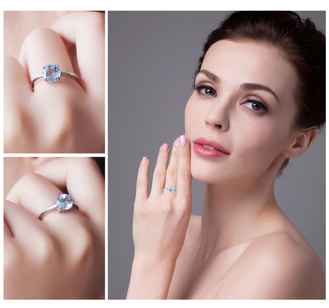 Natural Sky Blue Topaz Birthstone Solitaire Genuine Silver Ring for Women