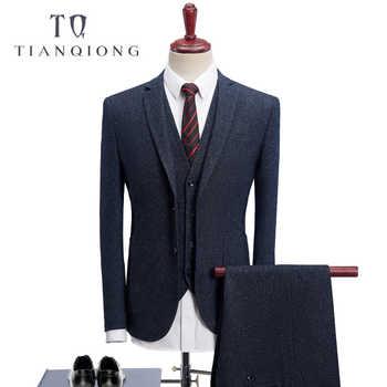 TIAN QIONG 2018 Men Suits Wedding Slim Fit 3 Piece Mens Dress Suits Fashion Brand Male Woolen Suit Costume Homme Ternos Slim Fit - DISCOUNT ITEM  12 OFF Men\'s Clothing