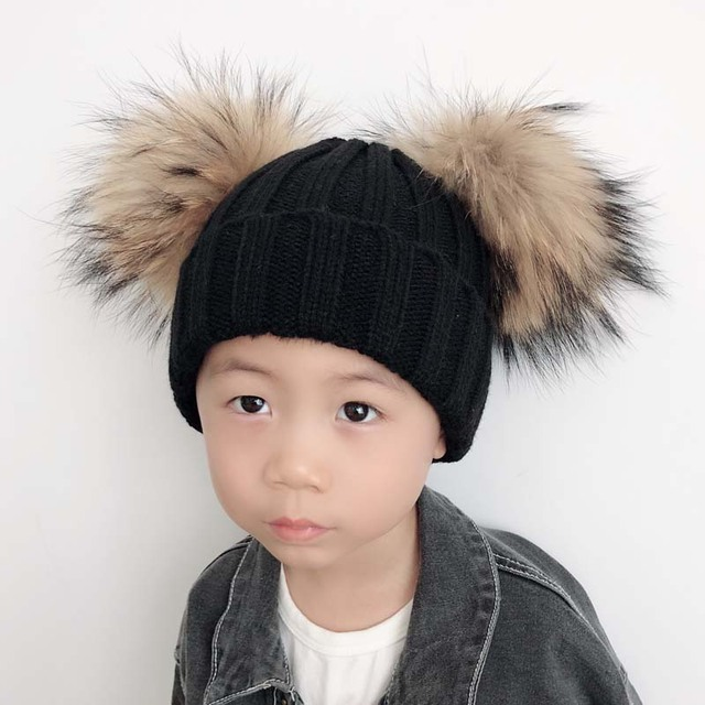 cc28f6035 US $6.9 40% OFF|Kids Real Fur Pom Pom Hat Baby Winter Hat Girls Boys  Knitted Beanie Double Two Real Fur Pompom Hat for Children-in Skullies &  Beanies ...