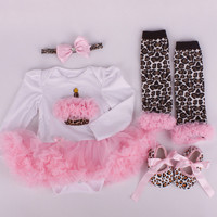 2pcs Infant Fashion Newborn Baby Bebe Girl Toddler Headbands Cupcake Romper Leopard Leg Warmers Shoes Outfit