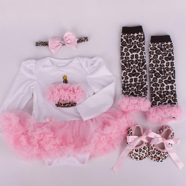 71b1ca4e 2 piezas infantil moda bebé recién nacido Bebe niña diademas niño + Cupcake  Romper + leopardo