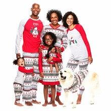 Семейный Рождественский пижамный комплект, зимний хлопковый свитер с длинными рукавами для папы, мамы и детей, рождественские Семейные комплекты