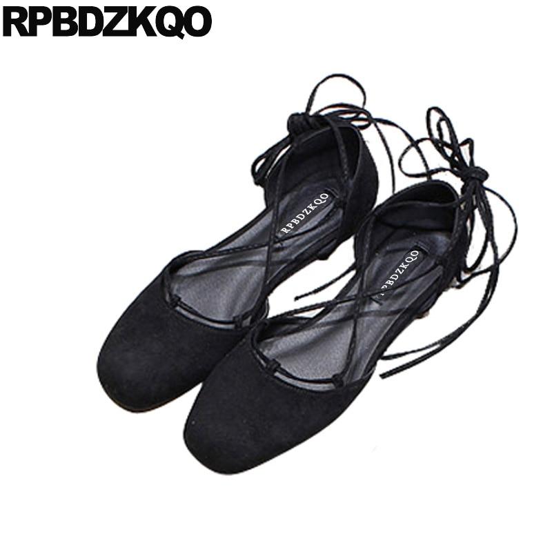 Black Yellow Square Toe Ballerina Shoe Mori Girl Designer Soft Ballet Flats Women Suede Lace Up Sandals Summer Ankle Strap Cross