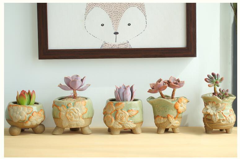 2018 High Quality Creative Cute Flowers Pattern Mini Ceramic Flowerpot Modern Garden Succulent Home Decoration Flower Pot L464