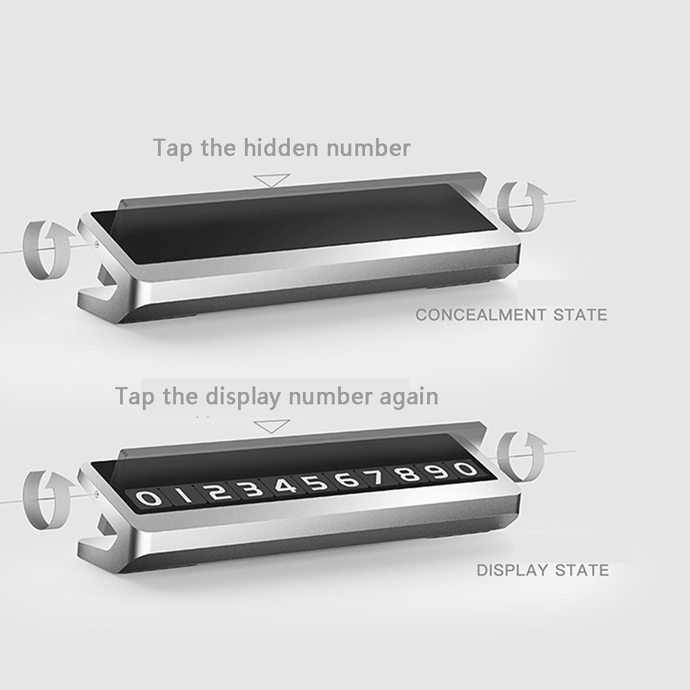 Alloy Metal Car Parking Phone Number Plate Card Universal Hidden Automobile Temporary Stop Sign Interior 29