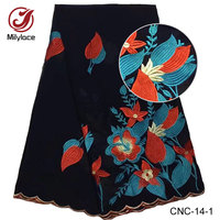 Lacet suisse de coton d'afrique tissu prix de gros brodé nigérian fleur suisse voile dentelle tissu pour femme robe CNC-14