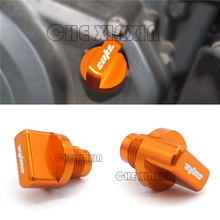 Akcesoria motocyklowe CNC pomarańczowy silnik magnetyczny korek spustowy oleju dla KTM DUKE 125 200 250 390 tanie tanio MOWOK 2 6cm EP-S 3 8cm Aluminum Do motocykli KTM Obejmuje listew ozdobnych 0 1kg Orange For KTM DUKE 390 DUKE 125 200