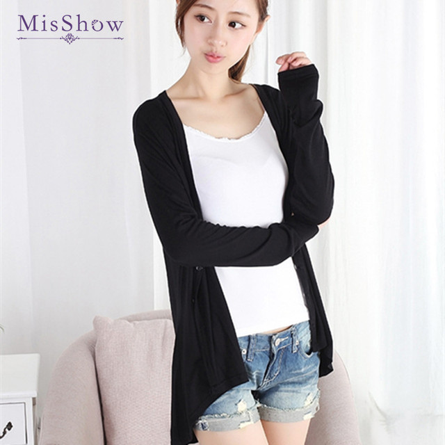 f7f625a390 Ladies Sweater Knitted Summer Cardigan V-Neck Long Cardigan Black Cotton  Modal Thin Pull Femme Female Cardigans 13 colors