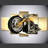 Free Shipping High Quality HD 5 Pieces Motorcycle Printed Canvas Painting Wall Art Living Room Decor