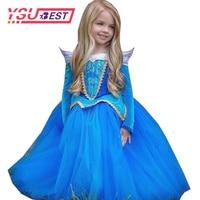 Princess Girl Dress Sleeping Beauty Halloween Costume Kids Clothing Girl Aurora Fancy Dress Ball Party Wear