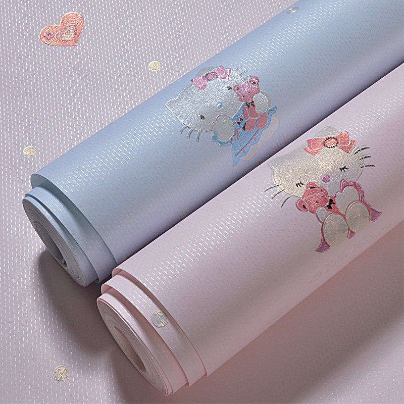 Cute Cartoon Wall Papers Home Decor Non-woven Pink Blue Cat Wall Paper Roll for Kids Boy and Girls Bedroom Walls Papel Mural multicolor children room wall paper roll non woven vertical strip wallpapers for baby boy girls bedroom wall mural pink blue