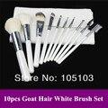 Free shipping! New Pro 10pcs White natural animal Goat Hair Makeup Brushes Set Dropshipping!