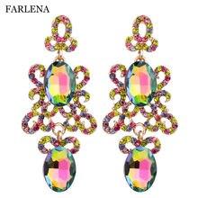 Женские длинные висячие серьги farlena 9 цветов с кристаллами