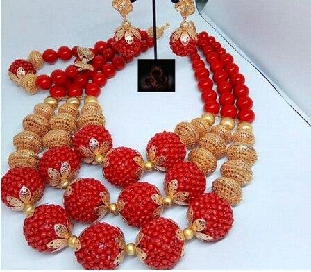 2018 Dubai or déclaration collier ensemble charmes 3 couches femmes corail perles africaines bijoux ensemble réel perles de corail pour les mariées ABH762 - 5