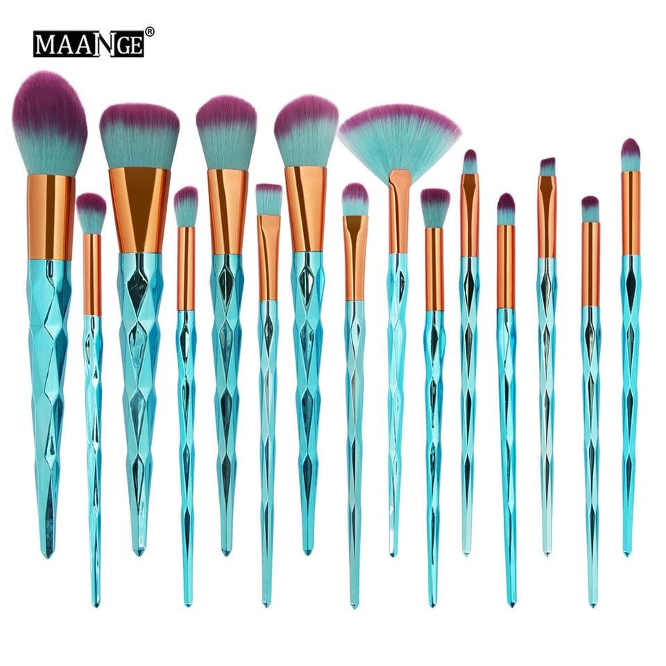 maquiagem New Arrival 15PCS Mermaid Foundation Eyeshadow Contour Eye Lip Makeup Brushes Set Beauty Sep 14