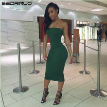 Fashion Women Sexy Cocktail Bodycon Casual Club wear Cute Knee Length Party Dresses Strapless Green Dress Vestidos