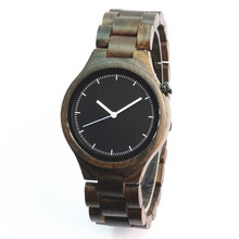 Mens Wooden Watch Black Sandal Wood Analog Japan MIYOTA Quartz Movement Wristwatch