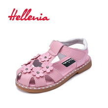 Купить с кэшбэком Hellenia Genuine leather Children sandals Summer Girls shoes soft Princess sandals for Kids flowers white pink size 26-30