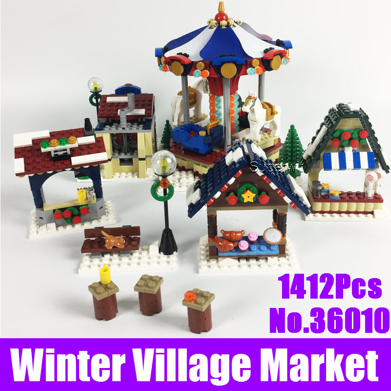 Lepin 36010 1412Pcs Creative Series Winter Village Market Model Set Building Christmas Blocks Bricks Toy For Children Gift 10235 lepin 36010 in stock 1412pcs winter village market carousel model building blocks bricks christmas toys 10235
