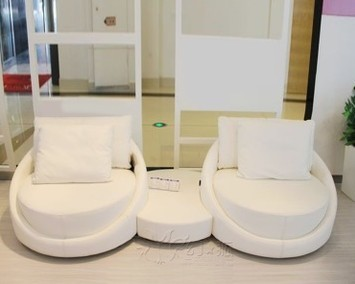 Filled With Feather Down Luxury Pearlescent Genuine Leather Sofa Mini Sectional Set Confortable