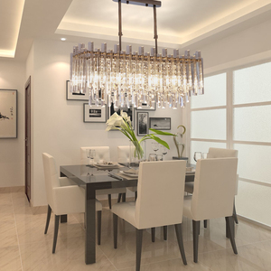 Image 1 - Modern Chandelier for Dining Room High Quality Clear Crystal Lampshade Lamp For Living Room LED Chandeliers Indoor lighting