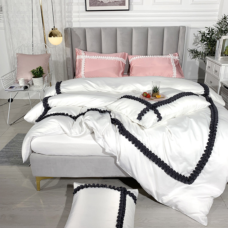 New Romantic Bedding Set King Queen twin Size 4pcs washed silk Bed Linen Duvet Cover fitted sheet /Bed Sheet Set PillowcasesNew Romantic Bedding Set King Queen twin Size 4pcs washed silk Bed Linen Duvet Cover fitted sheet /Bed Sheet Set Pillowcases