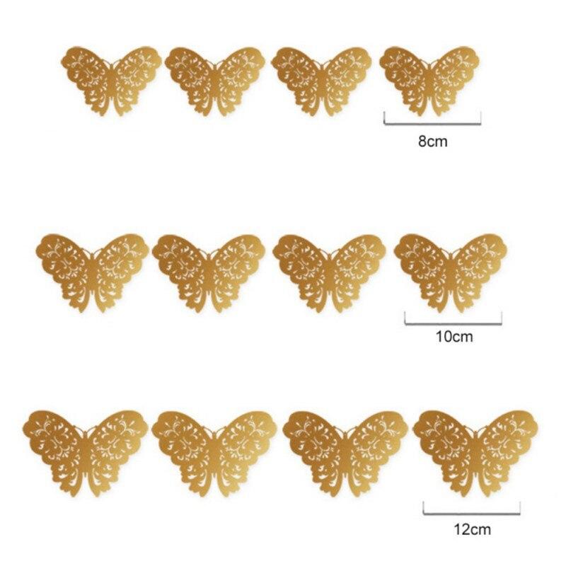 12 шт. бабочки полые DIY Home Decor плакат детей номеров обои металлик Чувство 3D ПВХ стены стикеры 1567