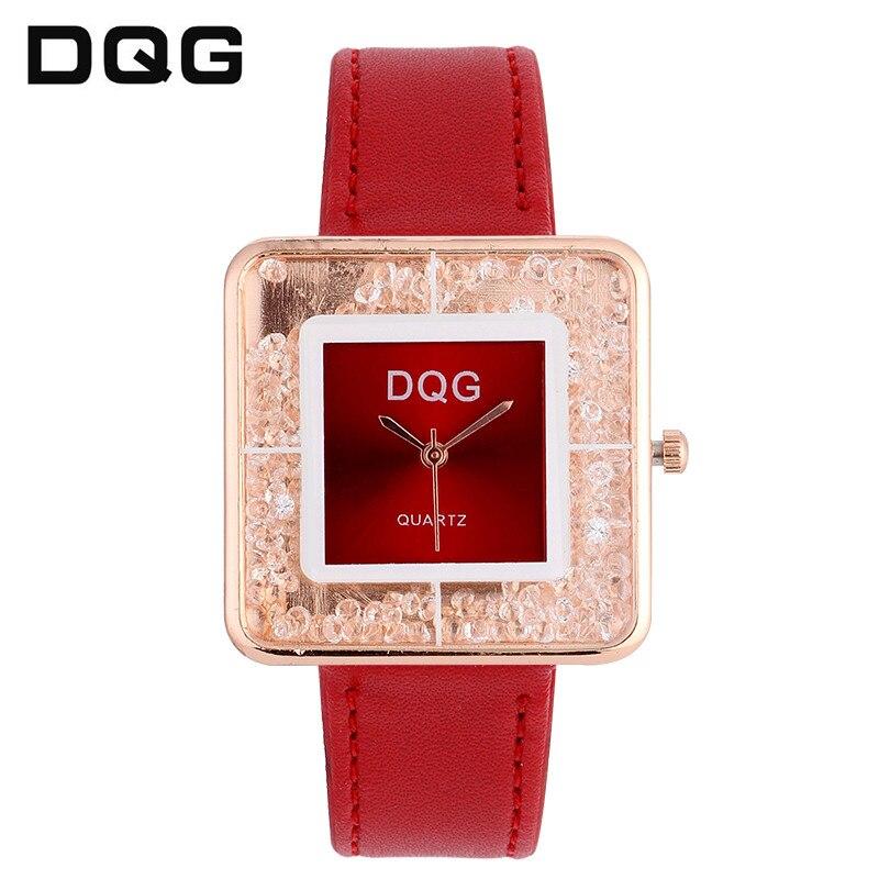 new Fashion Brand Women Rolling Drill Dress Watches Luxury Quicksand Casual Clock Genuine Leather Rhinestone Lady Wrist Watches
