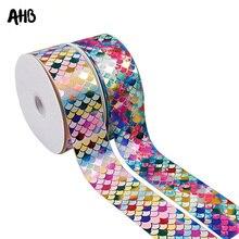 AHB 3 Grosgrain Ribbon 75mm Colorful Mermaid Printed DIY Hair Accessories Gift Wrapping Handmade Materials 2Yards/bag