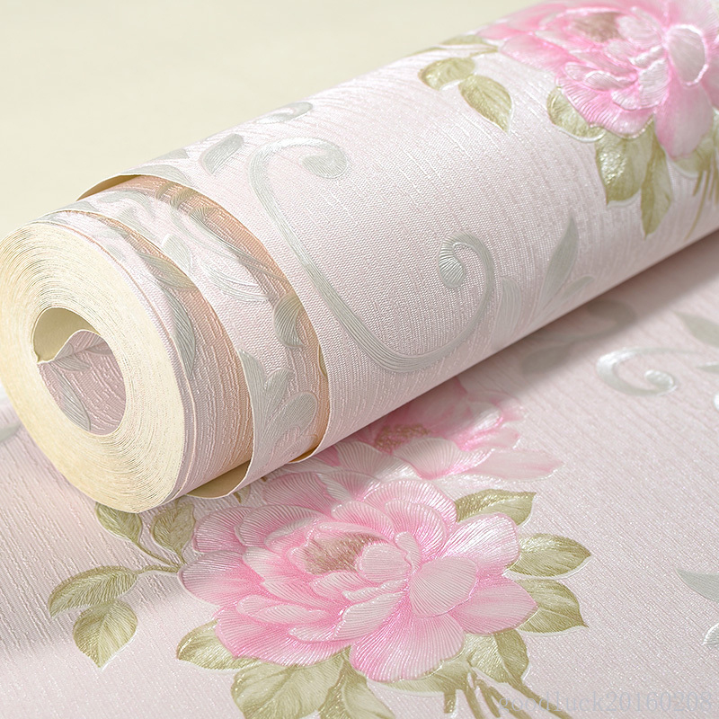 Pastoral Pink Floral Damask Wallpaper For Walls 3 D European Style Living Room Bedroom Wall Decor Non-woven Wallpaper Mural Roll beibehang non woven pink love printed wallpaper roll striped design wall paper for kid room girls minimalist home decoration