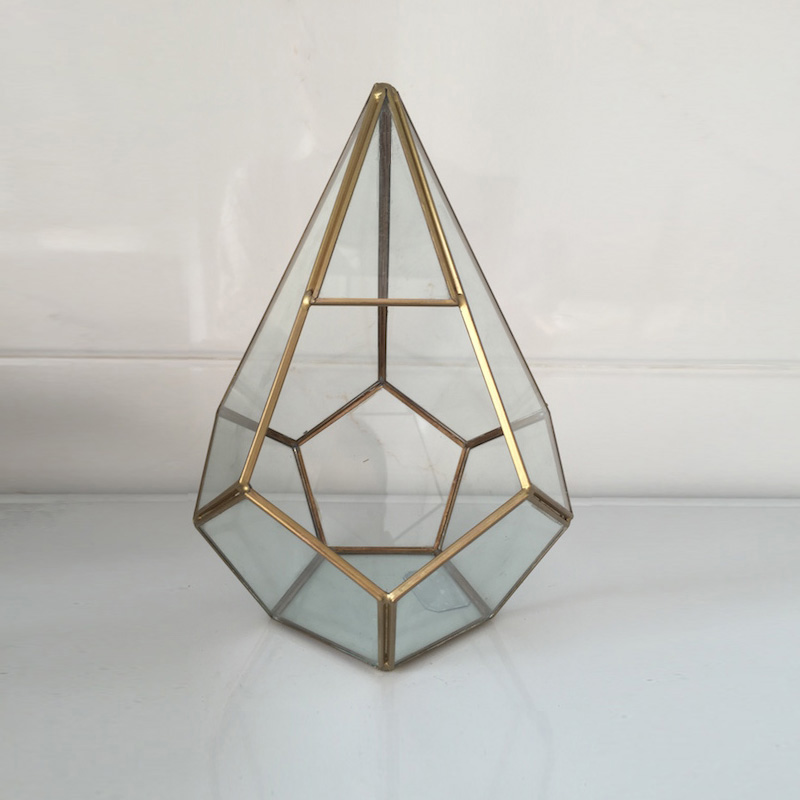 Pot For Flowers Handmade Prism Glass Terrarium Air Plant Pot Geometric Terrarium Brass Geometric Small Box Glass Vase For Plant