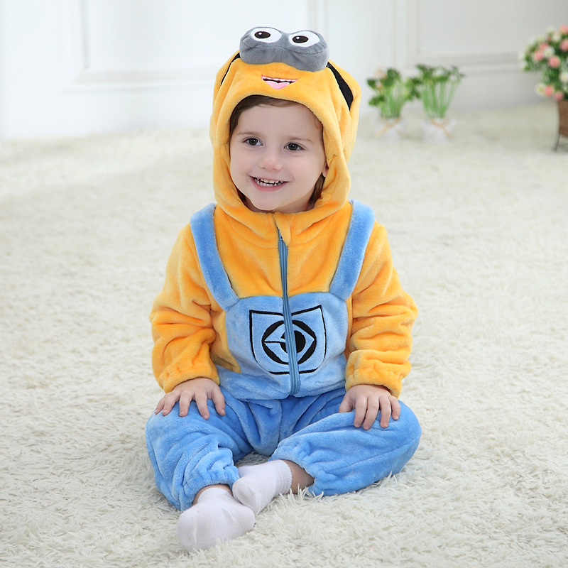 Spring Minion Romper New Born Baby Jumpsuit Clothing Infant Hooded Unisex Baby Clothes Flannel Toddler Boys Rompers Costume