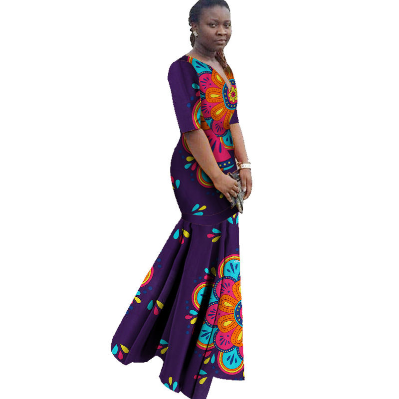 African Dresses For Women Ankle Length V Neck Slim African